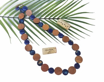 Tagua nut blue wood necklace/Wine barrel wood necklaces/ Gifts for mom/Blue circles beaded geometric necklace
