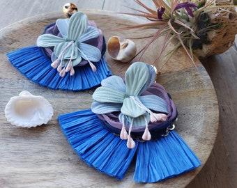 Raffia Fan tassels earrings/ Blue Tassels OOAK earrings/ Raffia Flower earrings/ Boho earrings/ Wicker earrings/gifts for Mom/Summer earring