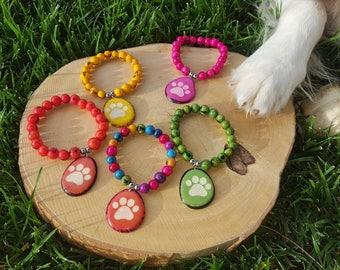 Tagua nut& acai berry bracelets/dog paw/dog jewelry/ paw bracelet/ gift ideas/charm bracelet/bracelets for a cause/charity gifts/dog gifts