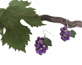 Grapes Earrings/ Cluster earrings/ Grapes earrings /Tagua organic earrings/ Fruit jewelry/ Dangling earrings/ Wine lovers gifts