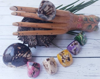 Tagua nut rings SIZE 7/ Rustic Rings/Chunky Rings/Nut wooden Rings/ Raw Rings/ Ecofriendly nut rings/Statement big bold oversize rings