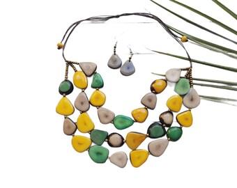 Tagua statement yellow necklace/pastels tagua statement necklace/Wooden etical beaded necklace/Eco friendly boho unique jewelry/slow fashion