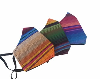 Adult Ethnic masks aztec or mayan print handmade in Guatemala 3 layers and filter pocket, Washable breathable stylish