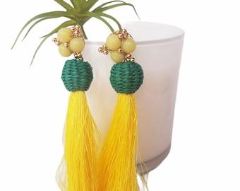 Beaded Super long yellow tassels earrings/OOAK Straw rattan pink earrings/Handmade wire wrap earrings/Beach straw earrings/Eco jewelry