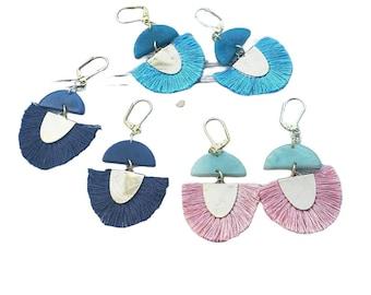 Fan tassels earrings/ Tagua tassel earrings/Boho Earrings/ Statement colorful fan earrings/ Dangle ecofriendly earrings/ Gifts for mom/