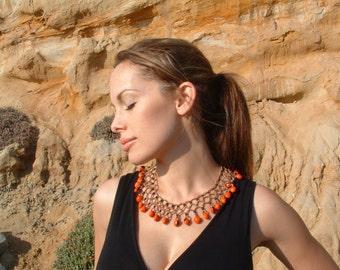 Cleopatra Tribal necklace/ Collar necklace/ Handmade necklace/  Seeded necklace/ Rainforest necklace/ Amazonian jewelry/ Evil eye necklace