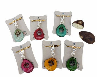 """Tagua Dog tag or cat Tag pendant """"You rescued me"""" for Animal Rescue Charity/Pet's pendant gift"""