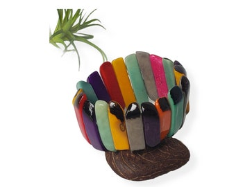 Tagua stretch  bracelets/ Sticks bracelet/ Statement Bracelet/Ecofriendly jewelry/ Colorful Bracelet/ Girlfriend Bracelet/ Hippie Chic jewel