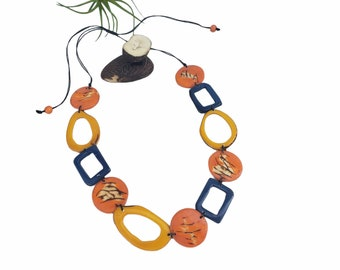 Tagua geometric necklace/Ethical beads ecofriendly jewelry/ Color block necklace/Gifts for mom/sustainable jewelry/slow fashion ecobeads
