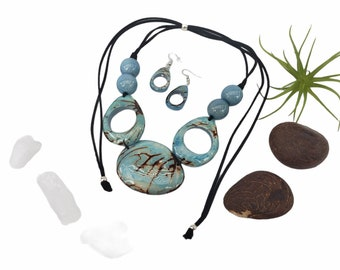 Best seller Tagua Necklace/ Glacier Bay aqua minimalist bib/ Handmade ecofriendly beaded necklace /Ethical jewelry