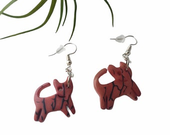 Cat earrings/ Cat lovers jewelry/ girls gifts/ TAGUA EARRINGS/FOR Charity/ cute gifts/Cat mom gifts/charity gifts/cat lady gifts