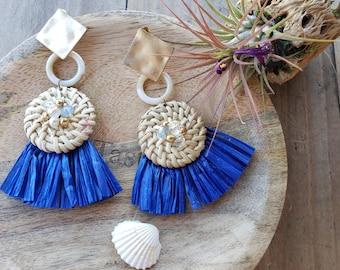 Raffia Fan tassels earrings/ Blue Tassel earrings/ Rattan  Raffia woven earrings/ Boho earrings/ Wicker earrings/ OOAK EARRINGS/gift for Mom