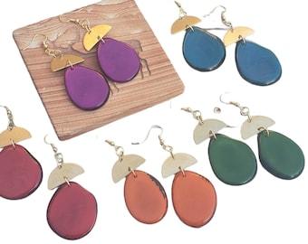 Tagua gold modern earrings/Statement brass earrings/Dangling colorful  tagua earrings /Mixed media earrings/Drops dangle earrings