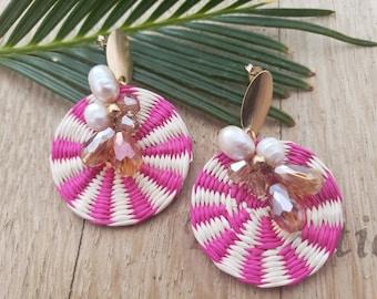 Statement straw pearls earrings/ Rattan embellished earrings/OOAK summer earrings/ Raffia disks  wire wrap colorful earrings for her