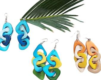 "Long Chained  Earrings/  Tagua  earrings/ Colorful earrings/ Bold Statement earrings/ 3"" long  Earrings"