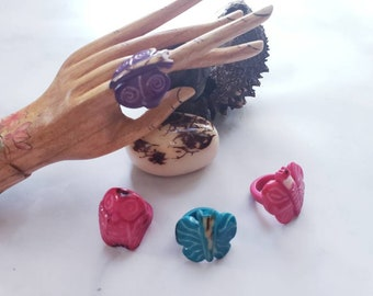 Tagua nut SIZE 7 Big Rings/ Handcarved animals nut rings/ Marble rustic nut rings /Butterfly& owl rings/Statement Oversized rings/ handcraft