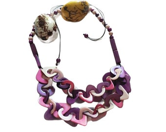 Tagua chained necklace/Statement chain purples necklace/ Chunky necklace/Resort Jewelry/ Eco jewelry by Allie