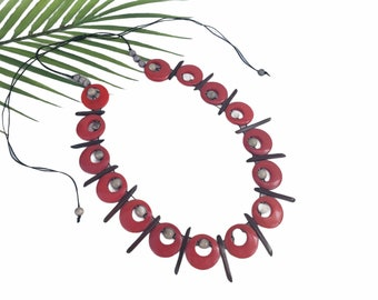 Amazona tribal tagua necklace/ Multicolor necklace/Tagua statement chunky red necklace/Ethical beads ethnic rainforest handmade jewelry/