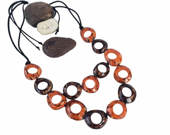 Infinity rings necklace/ Tagua Turquoise necklace/  Statement necklace TAGUA bib/ Rustic necklace/By ALLIE