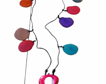 Rainbow tagua necklace/ Double wear Necklace/Tassel long necklace/Collar necklace by Allie/handmade jewelry/ Colorful necklace