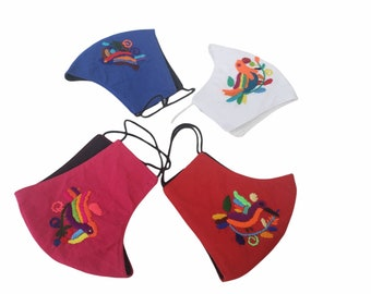 Back to school masks for kids embroider with birds 100% cotton breathable, washable and with double layer filter