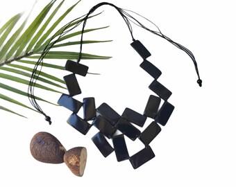 Asymmetrical big  bib statement necklace/ Tagua black necklace/Art Deco Necklace/Modern necklace/Rectangles necklace/eco jewel necklace
