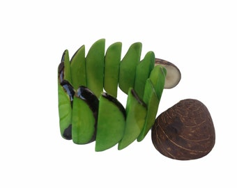 Tagua bracelet/ Bold half moon bracelets Colorful bracelets/ Gift ideas/Eco-friendly Handmade Bracelet/ Elastic Bracelet/Boho Bracelet