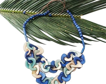 Tagua chained necklace/Statement chain blue and ivory necklace/ Resort Jewelry/ Eco jewelry by Allie