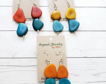 Colorful Dangle Earrings/ Tagua statement Earrings / Long Earrings/Eco Friendly Earrings/Color block earrings