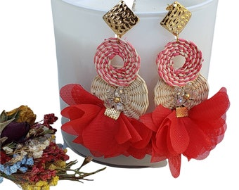 Statement Big Maxi Red rattan circles tropical earrings with floral petticoat  /Eco friendly slow made jewel OOAK gifts