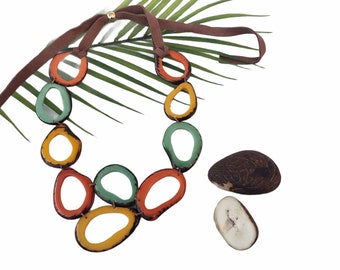 Leaves Bib Tagua necklace /Eco handmade jewelry/Statement necklace/ Rainbow necklace/Gift ideas for her/ ORGANIC jewelry