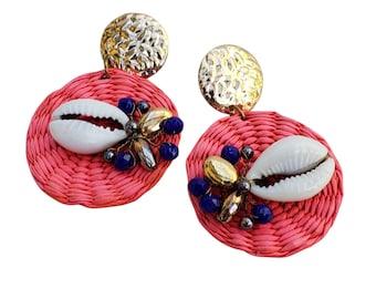 Statement red rattan straw earrings/ Circles shell earrings /OOAK Beach earrings/Handmade unique jewelry ecofriendly gift