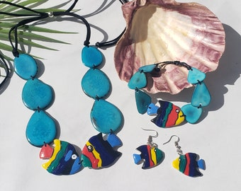 Turquoise Teal fishes tagua  nut necklace set / Beach California jewelry/Handpainted beach ocean inspired jewelry/Resort eco jewelry