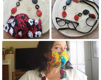 Statement Tagua Facemask Holder Necklace/ Tagua adjustable readers holder/Facemask keeper/Convertible 2 in 1 mask & sunglasses holder chain