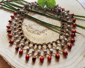 Cleopatra Tribal necklace/ Collar necklace/ Handmade necklace/ Ecojewel necklace/ Rainforest necklace/ Amazonian jewelry/ Shaman necklace