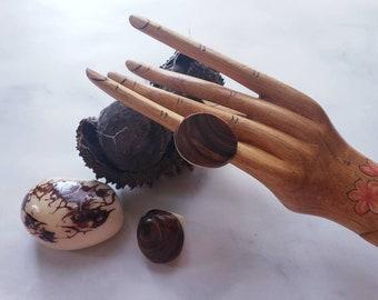 Tagua nut SIZE 5.5 Rings/ Vegetable ivory rings/ /Rustic nut rings /Wood rings/Statement bold rings/ecofriendly rings/Oversized big rings