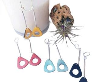 Minimalist Silver Tagua Earrings /Tagua long earrings/ Silver minimalist earrings/Ecofriendly earrings / Long lightweight earrings