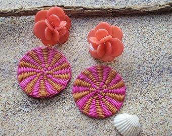 Straw big  circles earrings/Tagua Flower earrings/Statement rattan earrings/Beach earrings/Summer eco friendly jewelry earrings