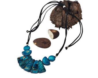 Red tagua statement Necklace/  Turquoise tagua necklace/ Blinky tagua nut necklace/ Handmade ethical jewelry/ Sustainable Gifts