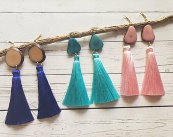Tagua drop Tassels  earrings/Trendy earrings/ Large tassel tagua earrings /Boho Earrings/ Gifts for her/Statement long earrings