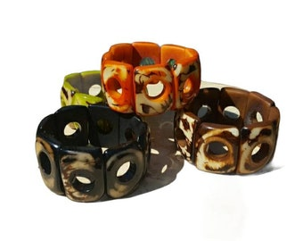 Squares Women bracelet/ Stretch Tagua bracelet/ Colorful cuff/Tropical Bracelet/Bohemian  Bracelet / Rustic bracelet/ Orange Green Bracelet