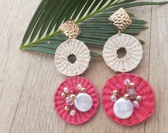 Statement straw earrings/Summer Earrings/ Woven Rattan Earrings/ Bold and big straw earrings/Straw earrings embellished with pearls