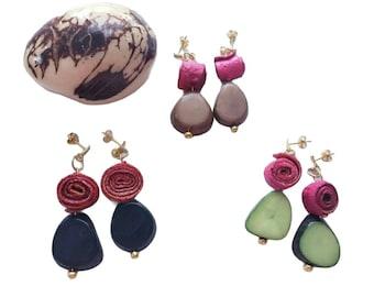Tagua and gold sterling silver Earrings / Orange peels earrings/Organic Earrings/Hypoallergenic colorful earrings/Dangling drop earrings/