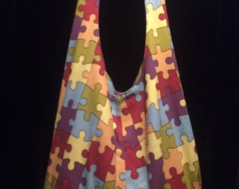 Hobo over the shoulder slouch Bag Autism counts