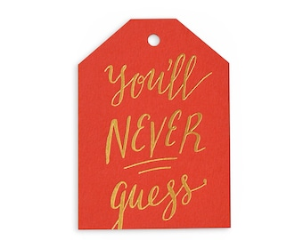 Never Guess - set of 6 letterpress tags