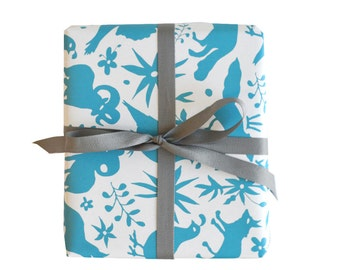 Otomi Blue Gift Wrap - 3 Single Sheets