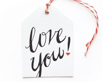 Love You - single letterpress tag