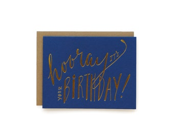 Hooray Birthday - letterpress card