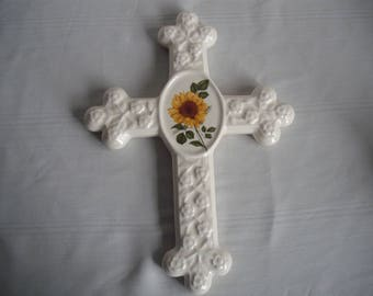 Ceramic Flower Cross with Yellow Sunflower