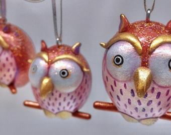 Copper Colored Sparkly Owl Ornament
